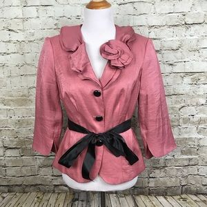 Victor Costa Size 10 Jacket Top Ruffled Collar